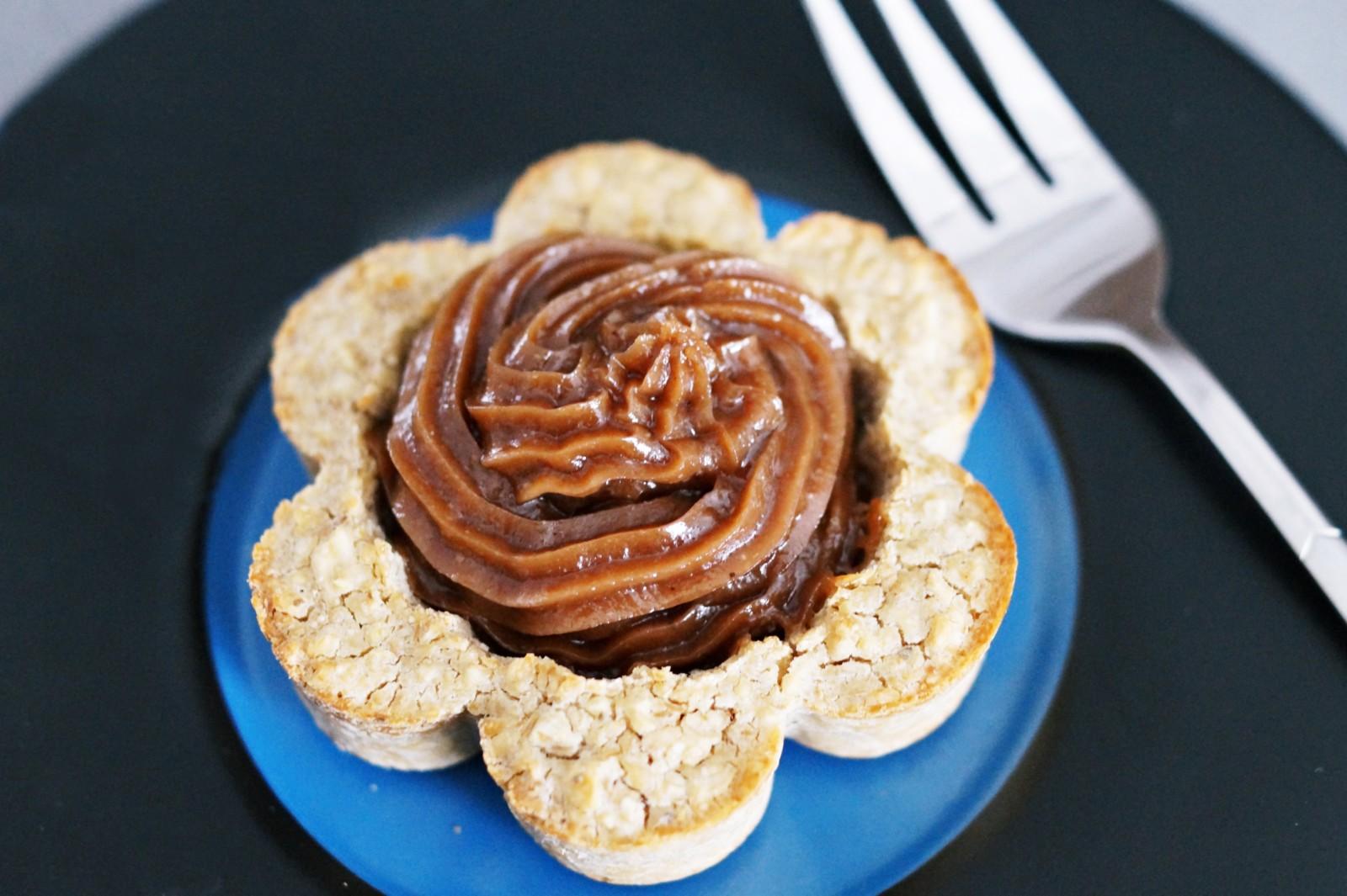 owsiane tarteletki z kremem orzechowo - kakaowym